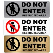 Do Not Enter Restricted Area-WITH IMAGE-Aluminium Metal Sign-Door,Notice,Business,Pub,Staff,Security